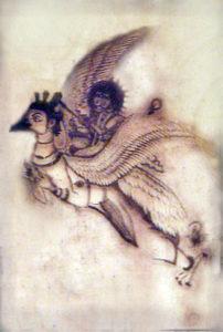 Fig. 8: Drawing of Garuda bird carrying Lord Vishnu. Source: Unknown